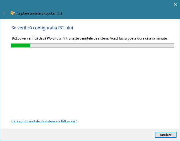 BitLocker verifică ce configurație are PC-ul