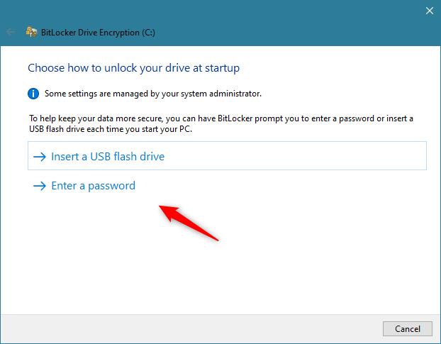 Dacă PC-ul nu are cip TPM, BitLocker îți cere să folosești un stick de memorie USB sau o parolă