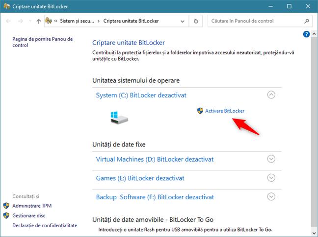 Alege Activare BitLocker pentru partiția de sistem