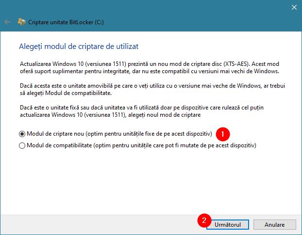 Modul de criptare pentru BitLocker