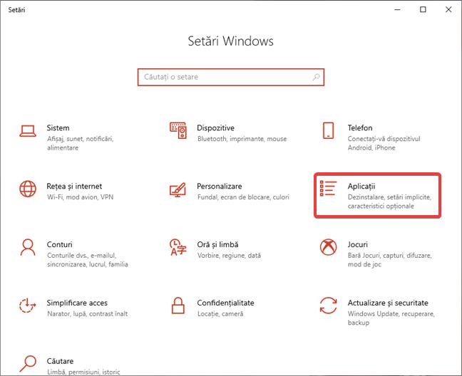 Deschide Aplicații în Setări în Windows 10