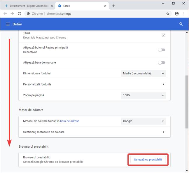 Setează Google Chrome ca browser prestabilit (implicit)