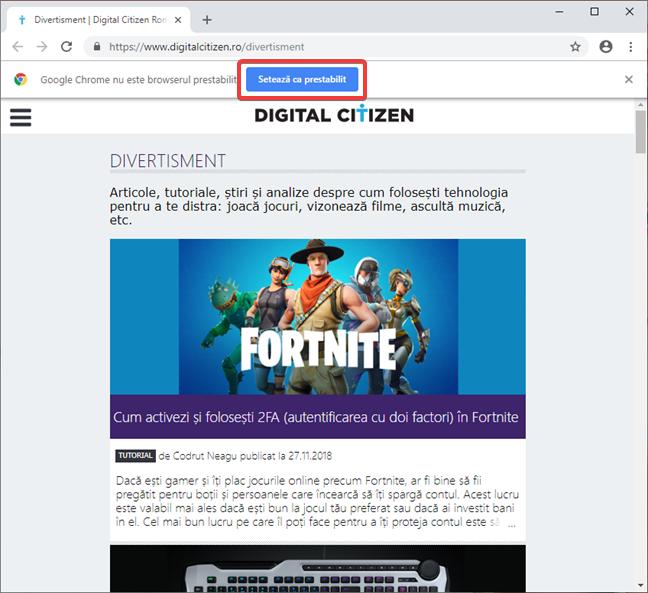 Setează Google Chrome ca browser implicit în Windows 10