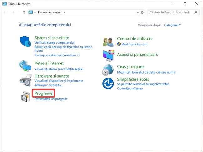 Deschide Programe în Panou de control în Windows 10