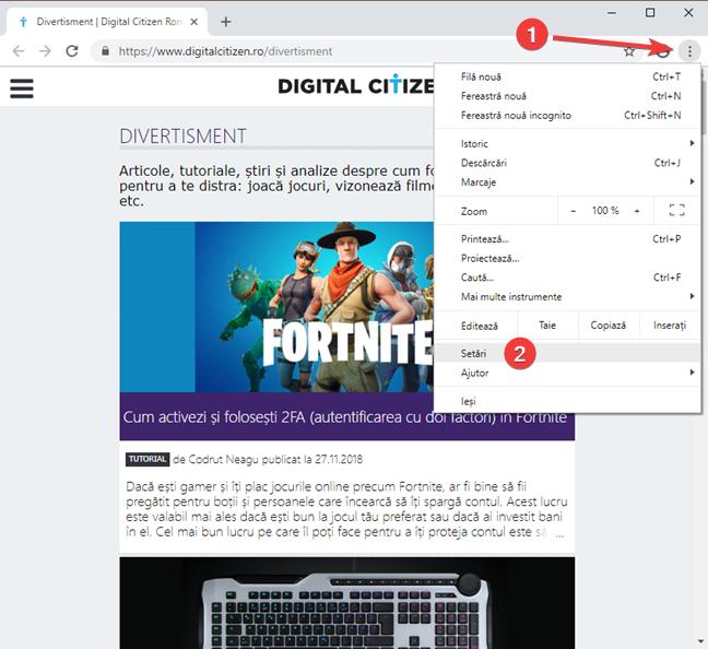 Deschide Setări în Google Chrome