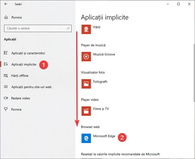 Setează browserul web implicit în Windows 10