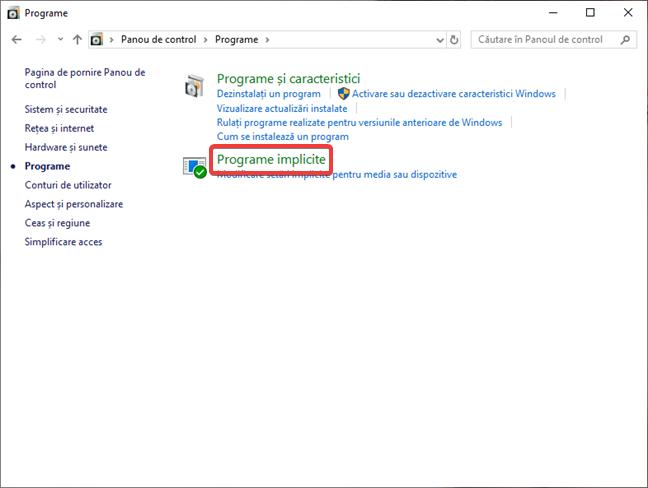 Deschide Programe implicite în Panou de control în Windows 10
