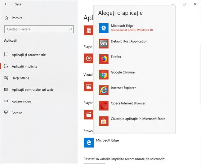 Alege browserul web implicit în Windows 10