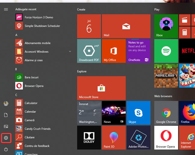 Deschide Setări din Meniul Start din Windows 10