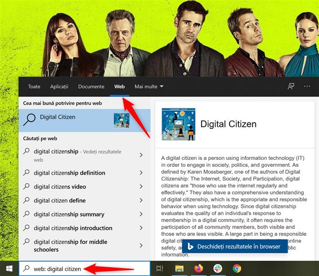 Folosește Windows 10 pentru a căuta rezultate pe internet