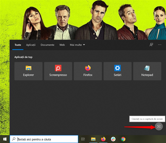 Butonul Căutați cu o captură de ecran