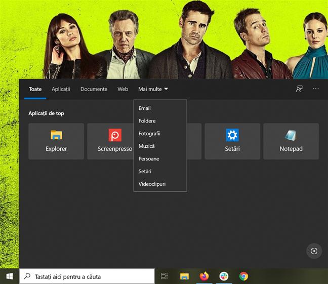 Fereastra Căutare din Windows 10 te lasă să alegi o categorie