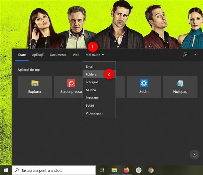Accesează Mai multe și apasă pe Foldere