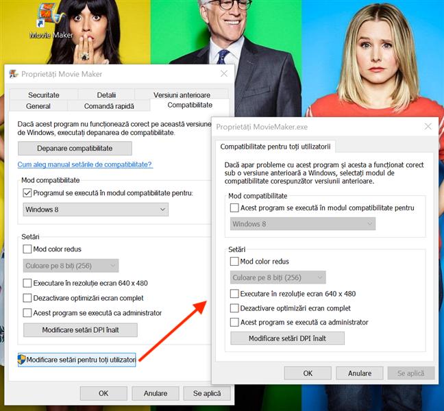 Dacă apeși pe Modificare setări pentru toți utilizatorii, se deschide o fereastră cu aceleași opțiuni