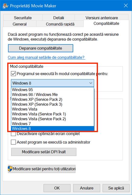 Alege versiunea de Windows pe care mergea programul tău