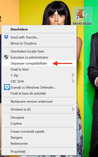 Apasă pe Depanare compatibilitate pentru a porni Depanatorul compatibilitate programe