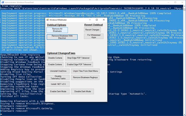 Windows 10 Debloater dezinstalează toate aplicațiile bloatware