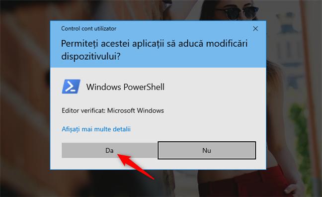 Executarea PowerShell ca administrator