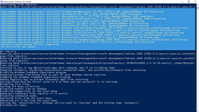 Scripturile de eliminare a bloatware-ului sunt rulate în PowerShell