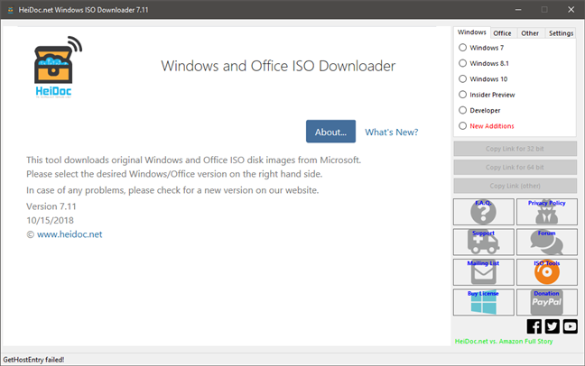 Aplicația Microsoft Windows and Office ISO Download Tool