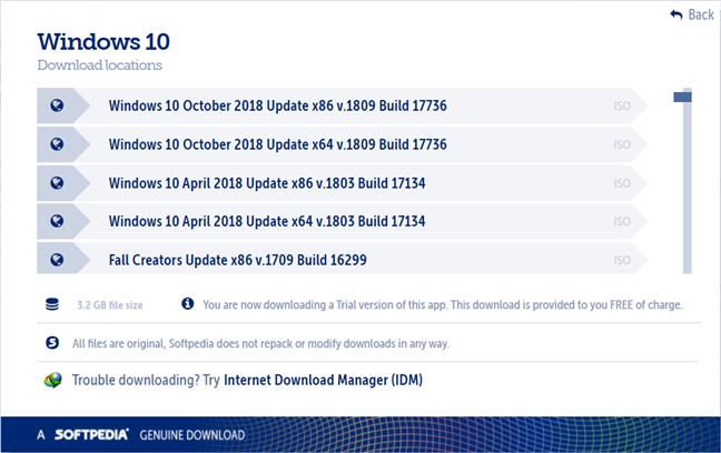 Pagina de descărcare a Windows 10 de pe Softpedia