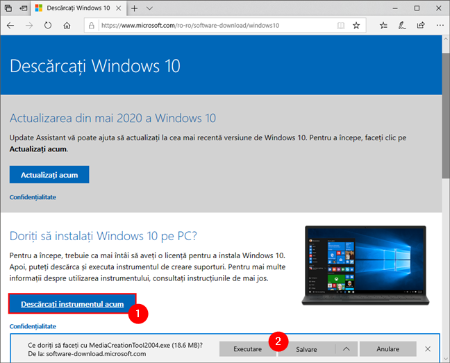 Legătura pentru Media Creation Tool de pe pagina de download Windows 10