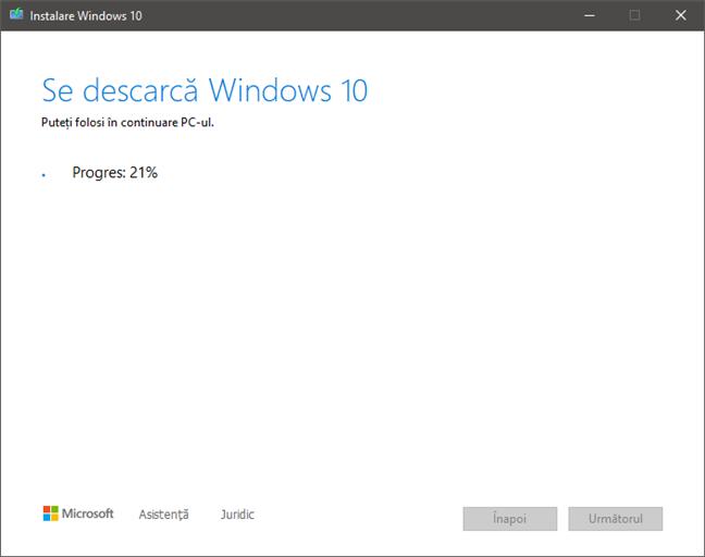 Descărcarea fișierelor de instalare pentru Windows 10