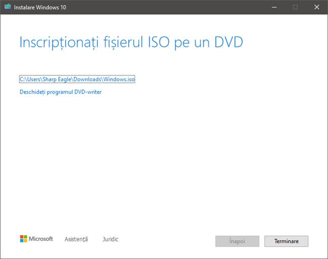 Finalizarea creării fișierului ISO cu Windows 10