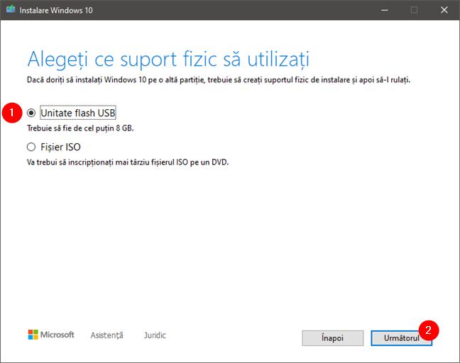 Alegerea de a crea un stick de memorie USB bootabil, cu Windows 10 pe el