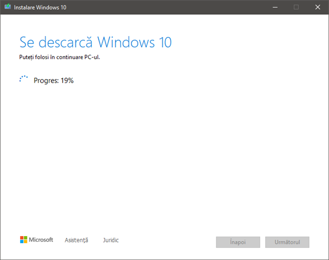 Procesul de descărcare al fișierelor de instalare Windows 10