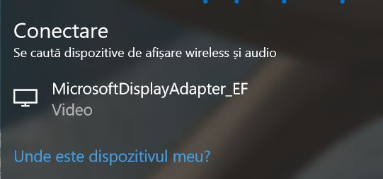 Windows 10, Miracast, proiecteaza, ecran, wireless, Microsoft Wireless Display Adapter