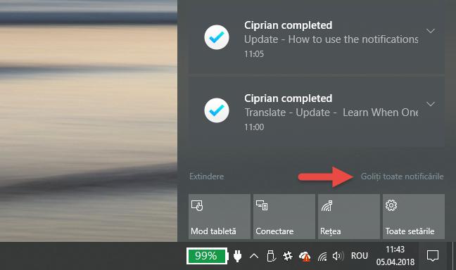Windows 10, Centrul Actiuni, notificari