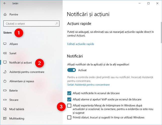 Dezactivarea reclamelor din Centrul de acțiuni din Windows 10