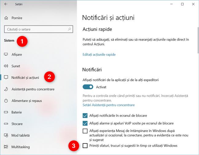 Primiți sfaturi, trucuri și sugestii în timp ce utilizați Windows