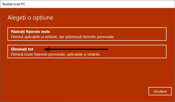 Alege Eliminați tot la resetarea calculatorului