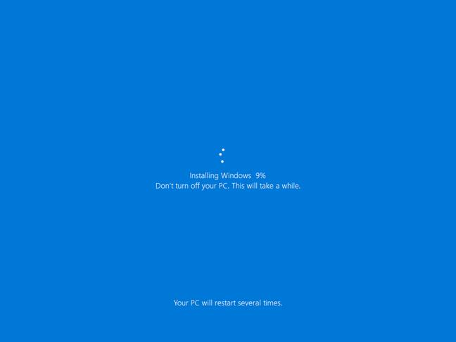 Instalarea de Windows 10 ca parte din procesul de resetare