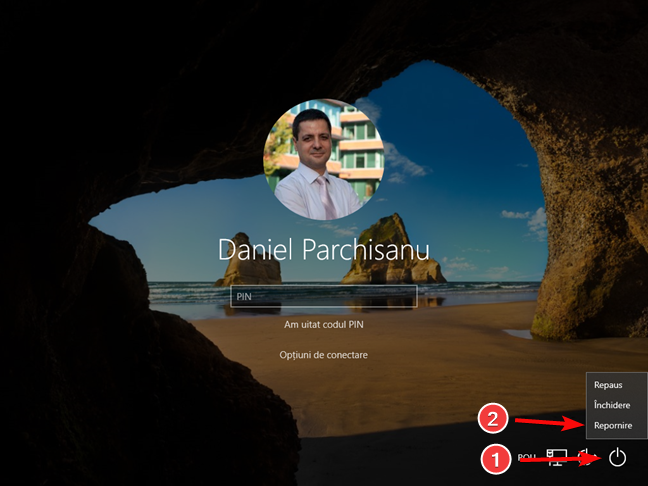 Repornește PC-ul tău cu Windows 10 de pe ecranul de conectare