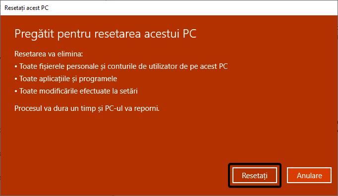 Pregătit pentru resetarea acestui PC