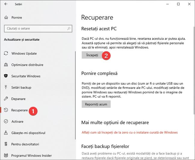 Începe procesul de resetare în Windows 10
