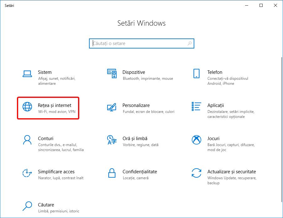 Deschide Rețea și internet în aplicația Setări din Windows 10