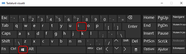 Scurtătura de la tastatură pentru Setări