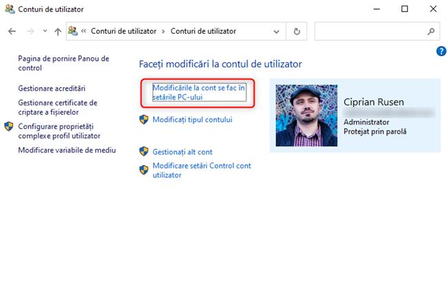 Deschide Setările Windows 10 din Panoul de Control