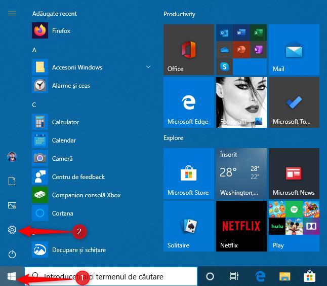 Scurtătura Setări din meniul Start al Windows 10