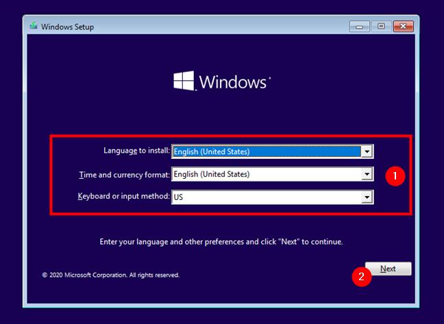 Alegerea limbii, orei, valutei și tastaturii pentru instalarea Windows 10