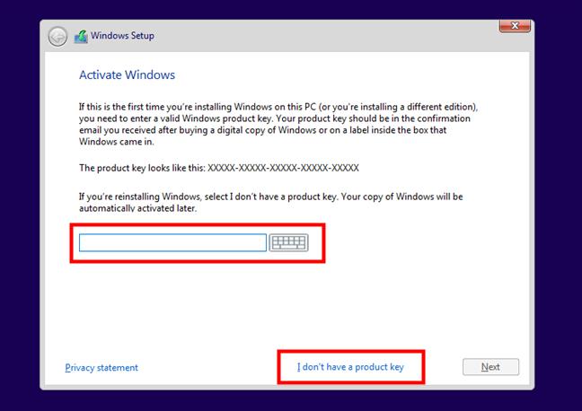 Introducerea numărului serial de licență pentru activarea Windows 10