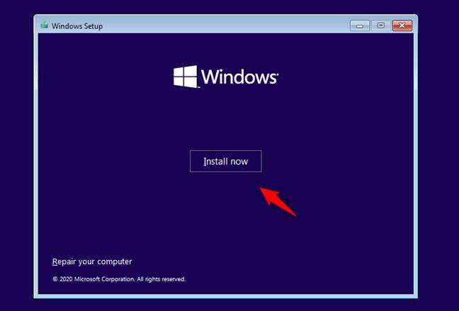 Începerea instalării Windows 10