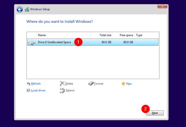 Alegerea locului unde se instalează Windows 10