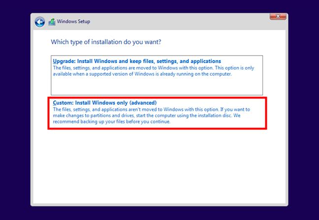 Alegerea de a instala Windows 10 în modul personalizat