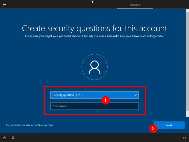 Configurarea celor trei întrebări de securitate pentru recuperarea contului offline