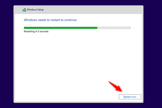 Instalarea Windows 10 cere repornirea PC-ului pentru a putea continua